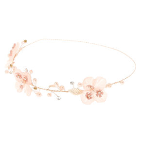 Rose Gold Flower Crown Headwrap - Pink,