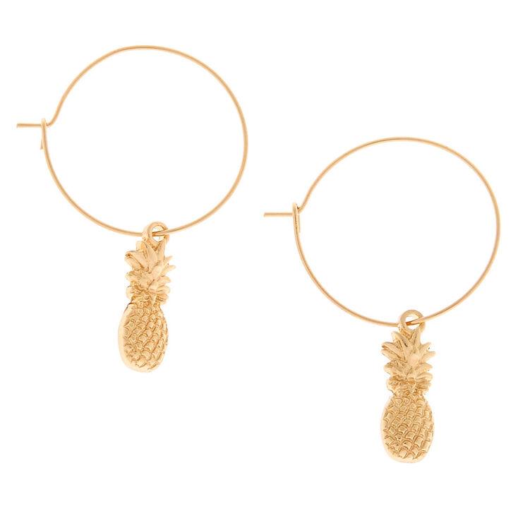 Gold 20MM Pineapple Charm Hoop Earrings,