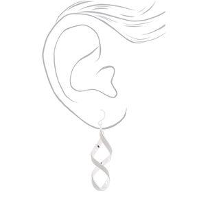 """Silver 2"""" Glitter Twist Drop Earrings,"""