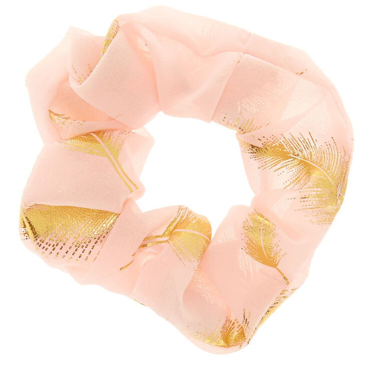 Gold Leaf Blush Pink Hair Scrunchie,