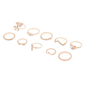 Rose Gold Embellished Rings - 10 Pack,