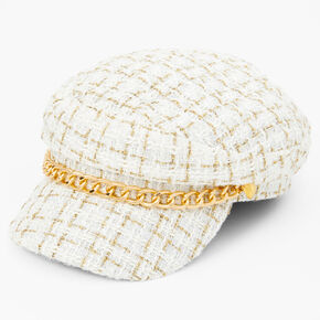 Gold Chain Captain Hat - White,