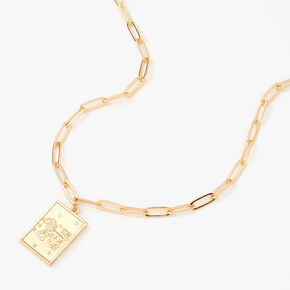 Gold Rectangle Zodiac Symbol Pendant Necklace - Leo,