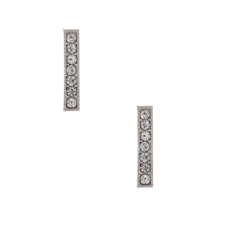 Silver Crystal Bar Stud Earrings,