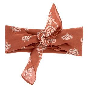 Silky Paisley Knotted Bandana Headwrap - Sienna,