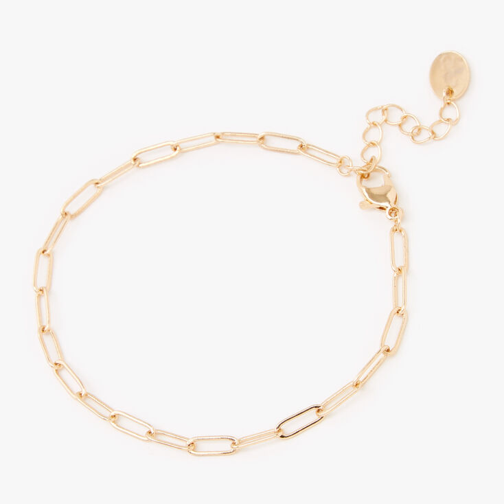 Gold Paperclip Chain Link Bracelet,