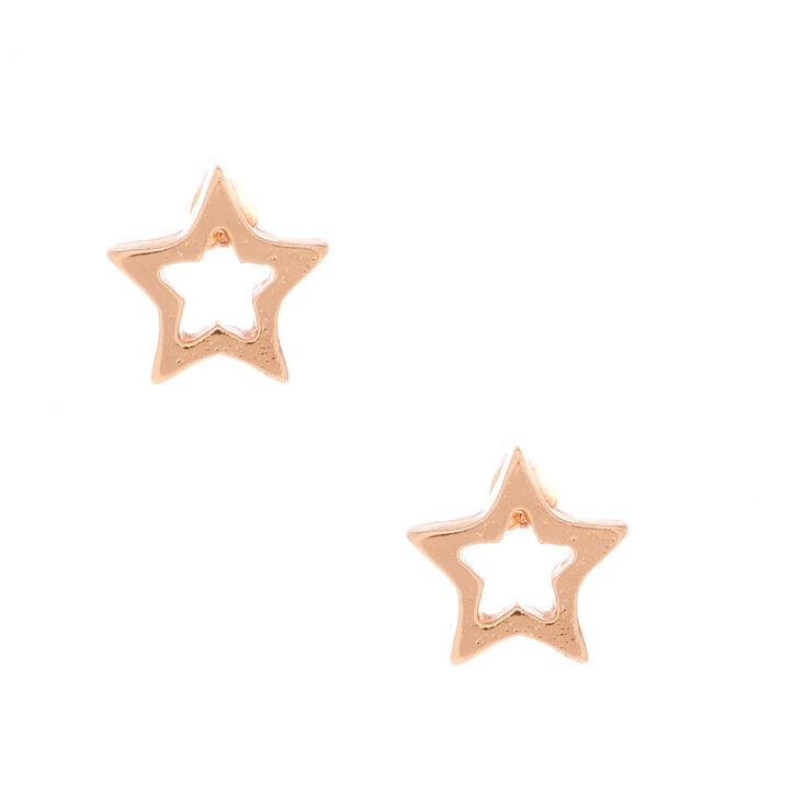 18kt Rose Gold Plated Star Stud Earrings,