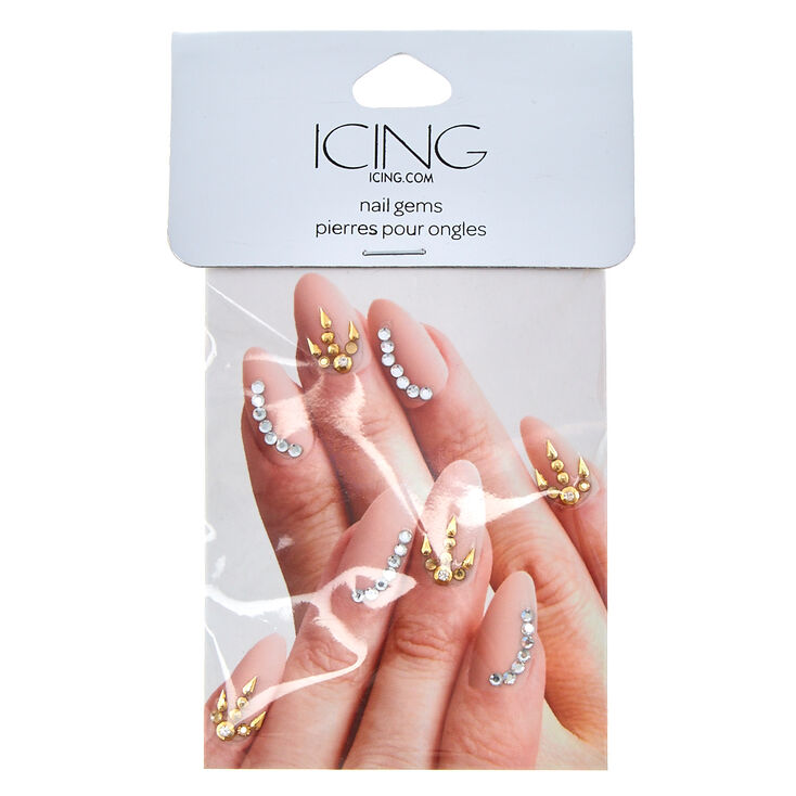 Gold & Clear Nail Gems,