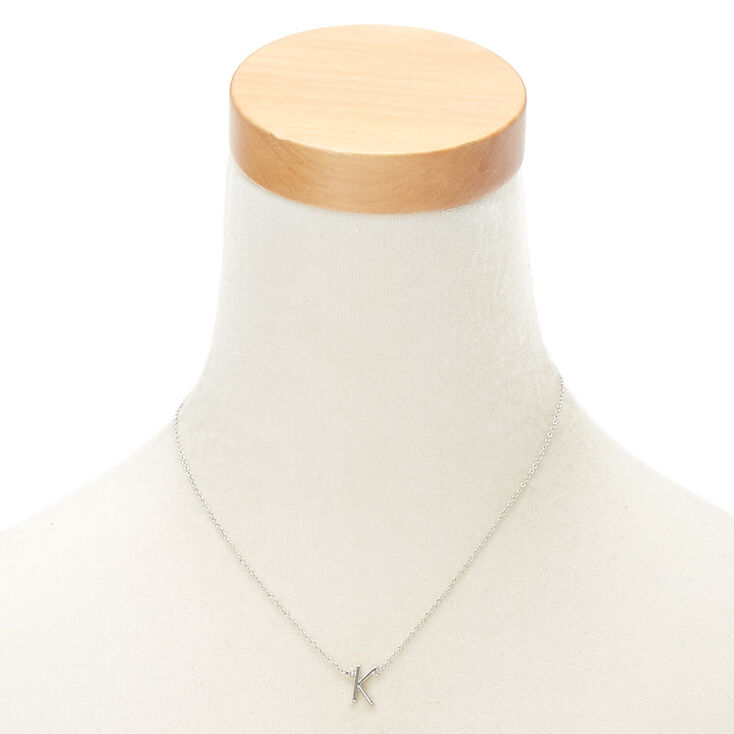Silver Stone Initial Pendant Necklace - K,