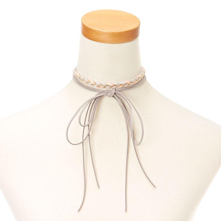Pink & Gray  Braided Yarn & Faux Suede Choker Headwrap,