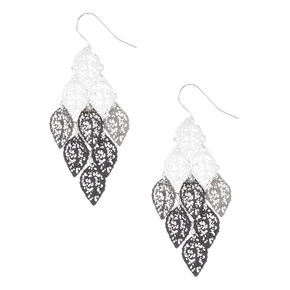 Silver & Black Filigree Leaves Drop Earrings,