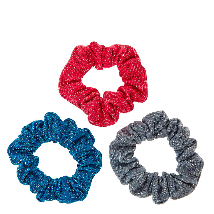 Pink, Teal, & Gray Glittery Hair Scrunchies,