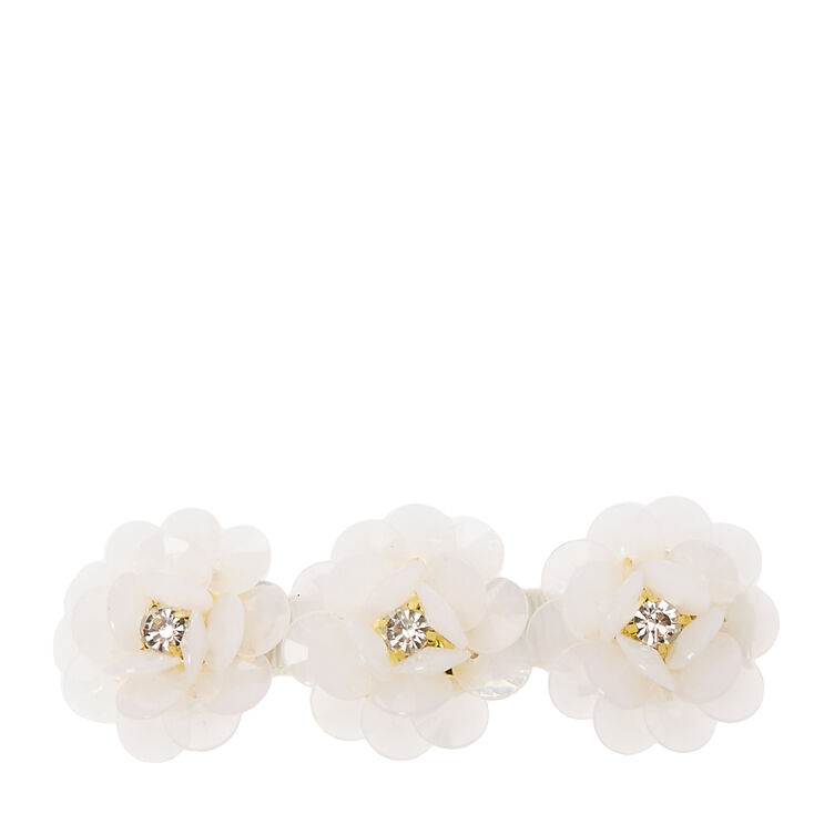 Ivory Bead Flower Trio Hair Clip,