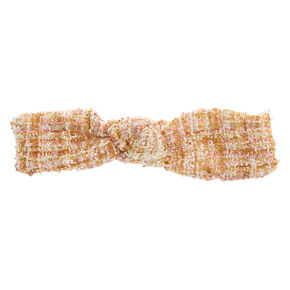 Pink & Gold Tweed Knotted Headwrap,