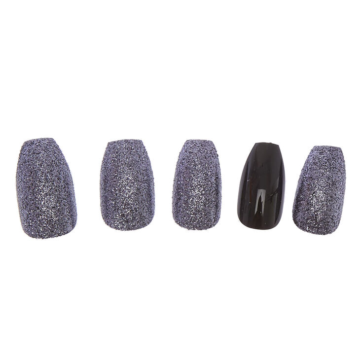 Edgy Glitter Coffin Faux Nail Set - Black, 24 Pack,