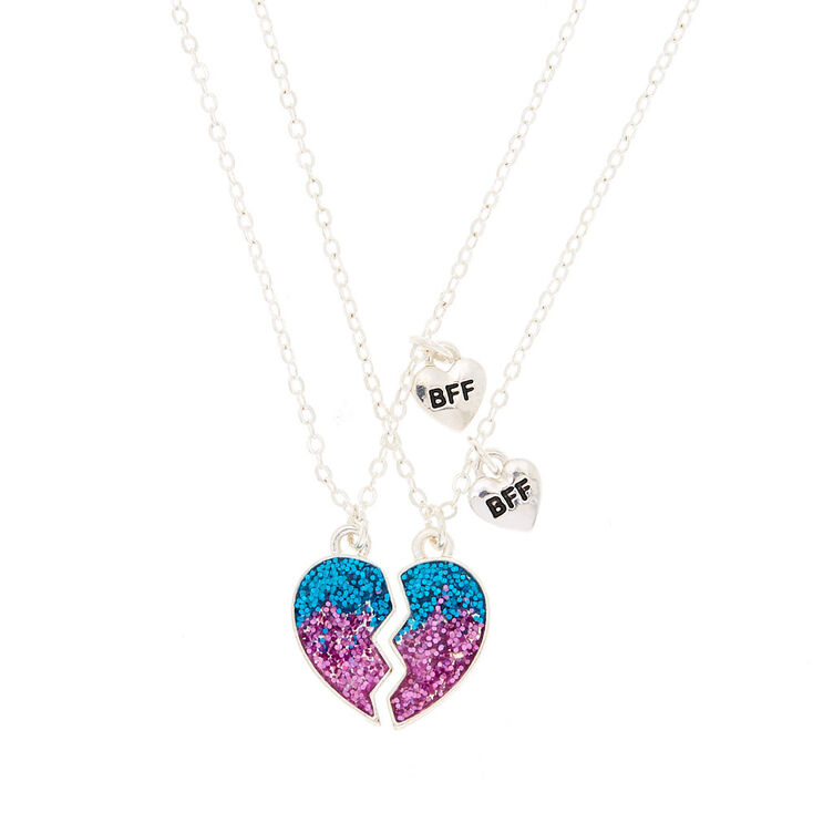 Best Friends Ombre Glitter Heart Pendant Necklaces - 2 Pack,