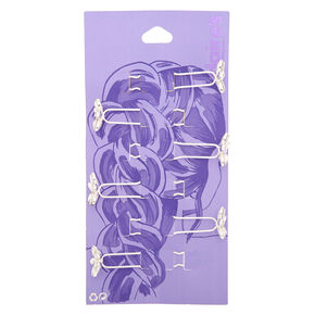 Silver Rhinestone Flower Hair Pins - 6 Pack,