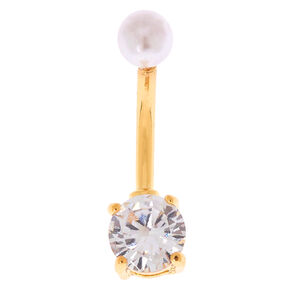 14G Cubic Zirconia Faux Pearl Top Belly Ring,