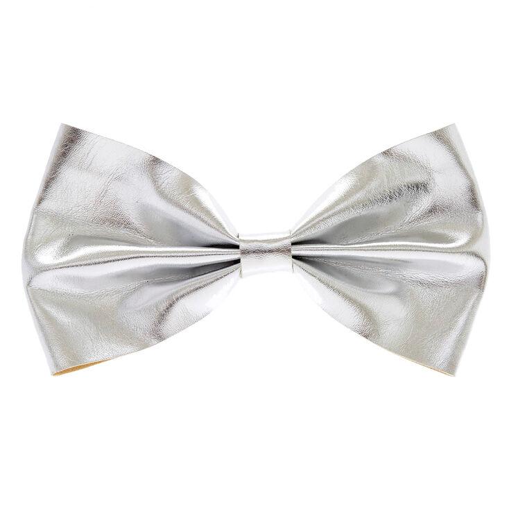 Mini Silver Glitter Bow Hair Barrette,
