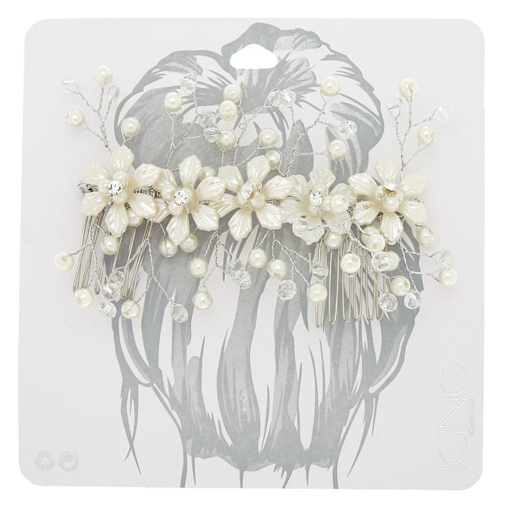 Floral Pearl Hair Comb - Silver,