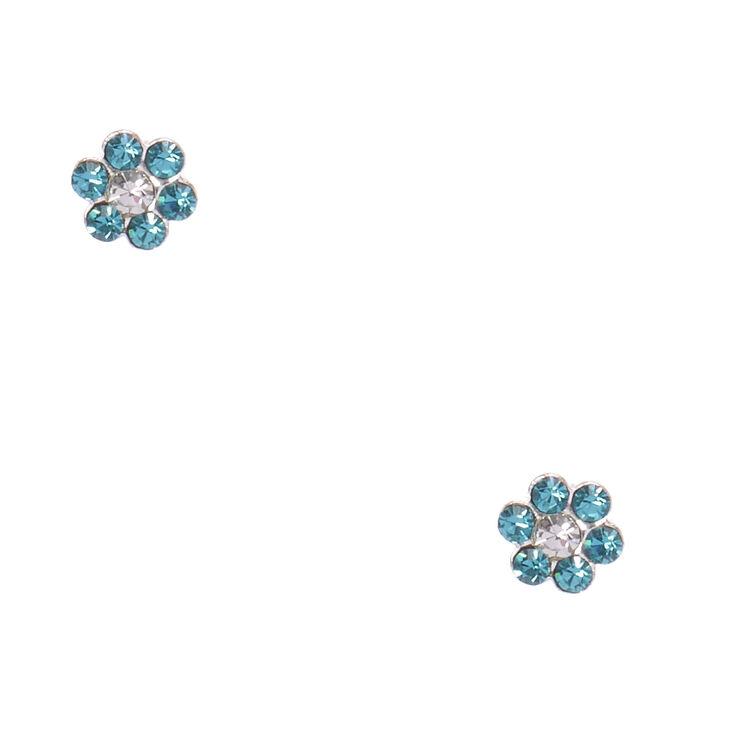 Sterling Silver Blue Zircon Flower Earrings,