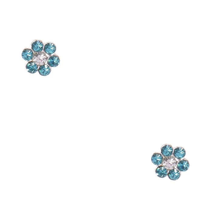 Sterling Silver Blue Zircon Flower Earrings,