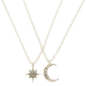 Silver Celestial Pendant Necklaces - 2 Pack,
