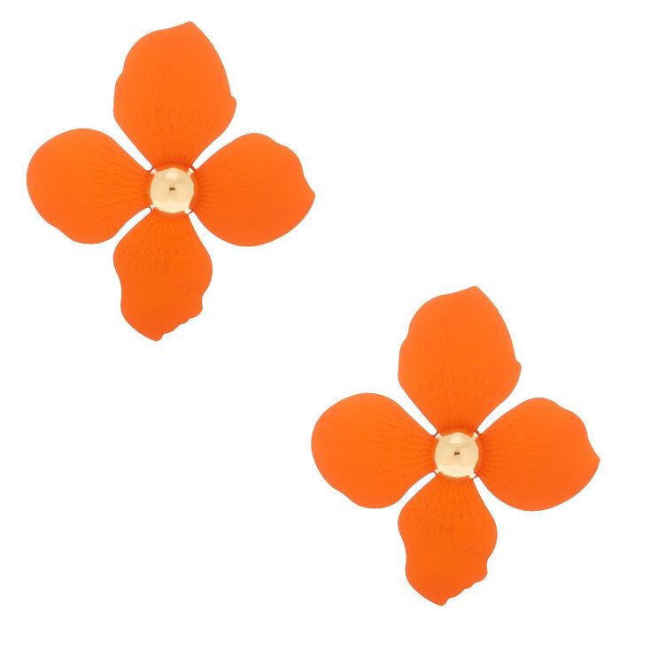"""Gold 2"""" Flower Drop Earrings - Orange,"""