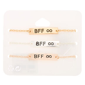 Mixed Metal Chain Bracelets - 3 Pack,