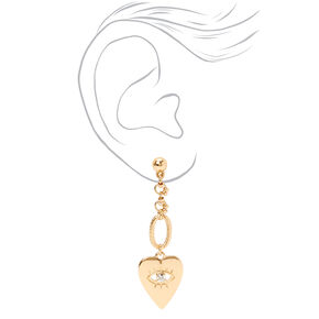 "Gold 2"" Heart Evil Eye Chain Drop Earrings,"