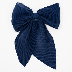 Pleated Chiffon Hair Bow Clip - Navy,
