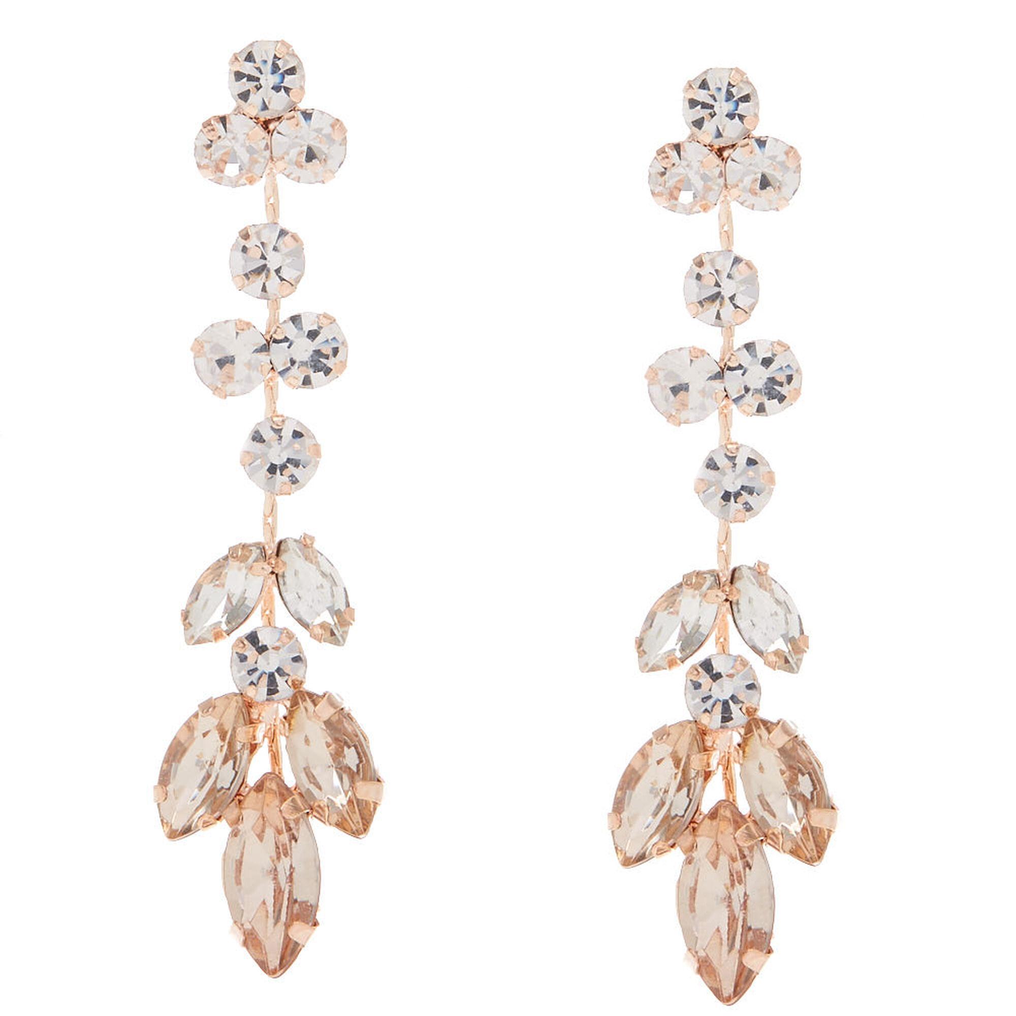 Rose Gold Leaf Drop Earrings