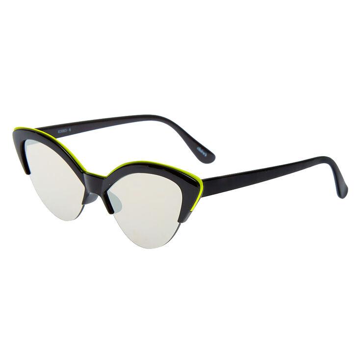 Neon Browline Cat Eye Sunglasses - Black,