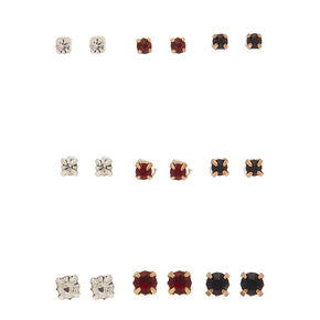 Mixed Metal Cubic Zirconia Graduated Stud Earrings - 9 Pack,