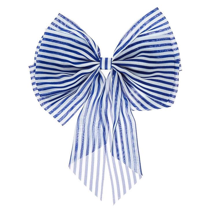 Giant Navy & White Stripe Bow,