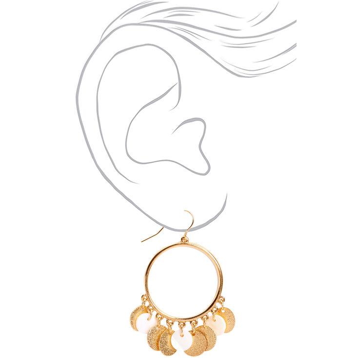 "Gold 2"" Textured Circle Seashell Drop Earrings,"