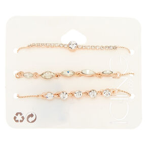 Rose Gold Rhinestone Dainty Adjustable Bracelets - 3 Pack,