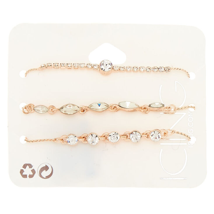Rose Gold Rhinestone Dainty Adjustable Bracelets - 3 Pack,