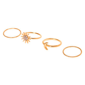 Gold Celestial Midi Rings - 4 Pack,