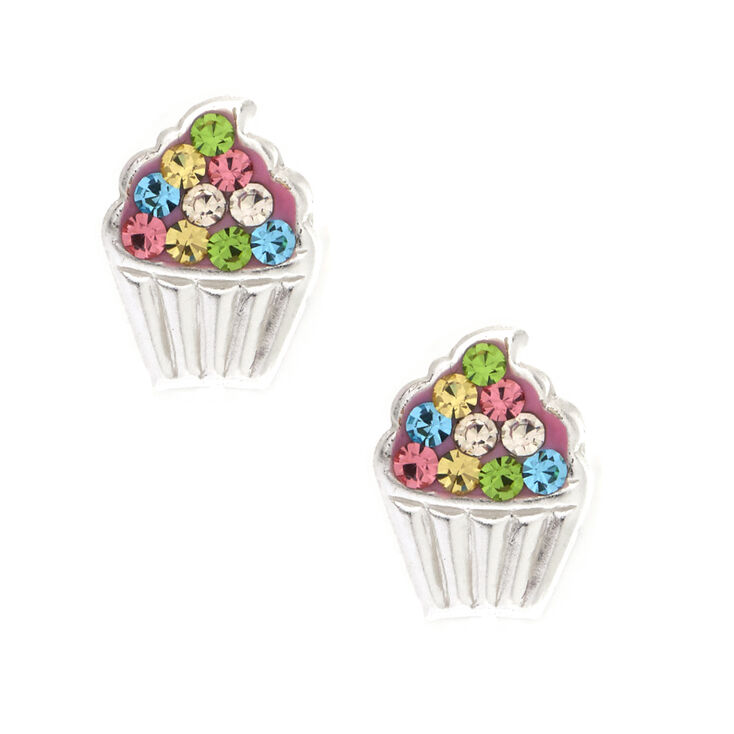 Sterling Silver Pastel Cupcake Earrings,