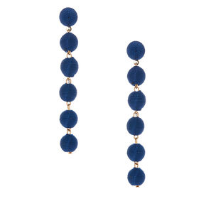 "3"" Thread Wrapped Ball Drop Earrings - Navy,"