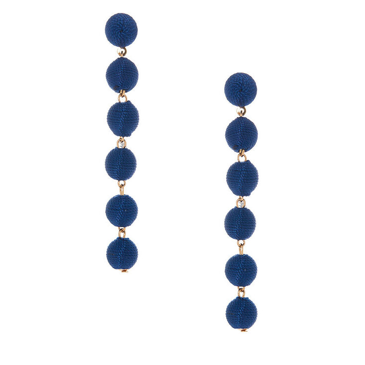 "3"" Thread Wrapped Ball Drop Earrings - Navy,"