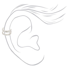 Silver Crystal Double Row Ear Cuff,