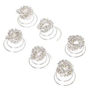Silver Twisted Crystal Hair Spinners - 6 Pack,