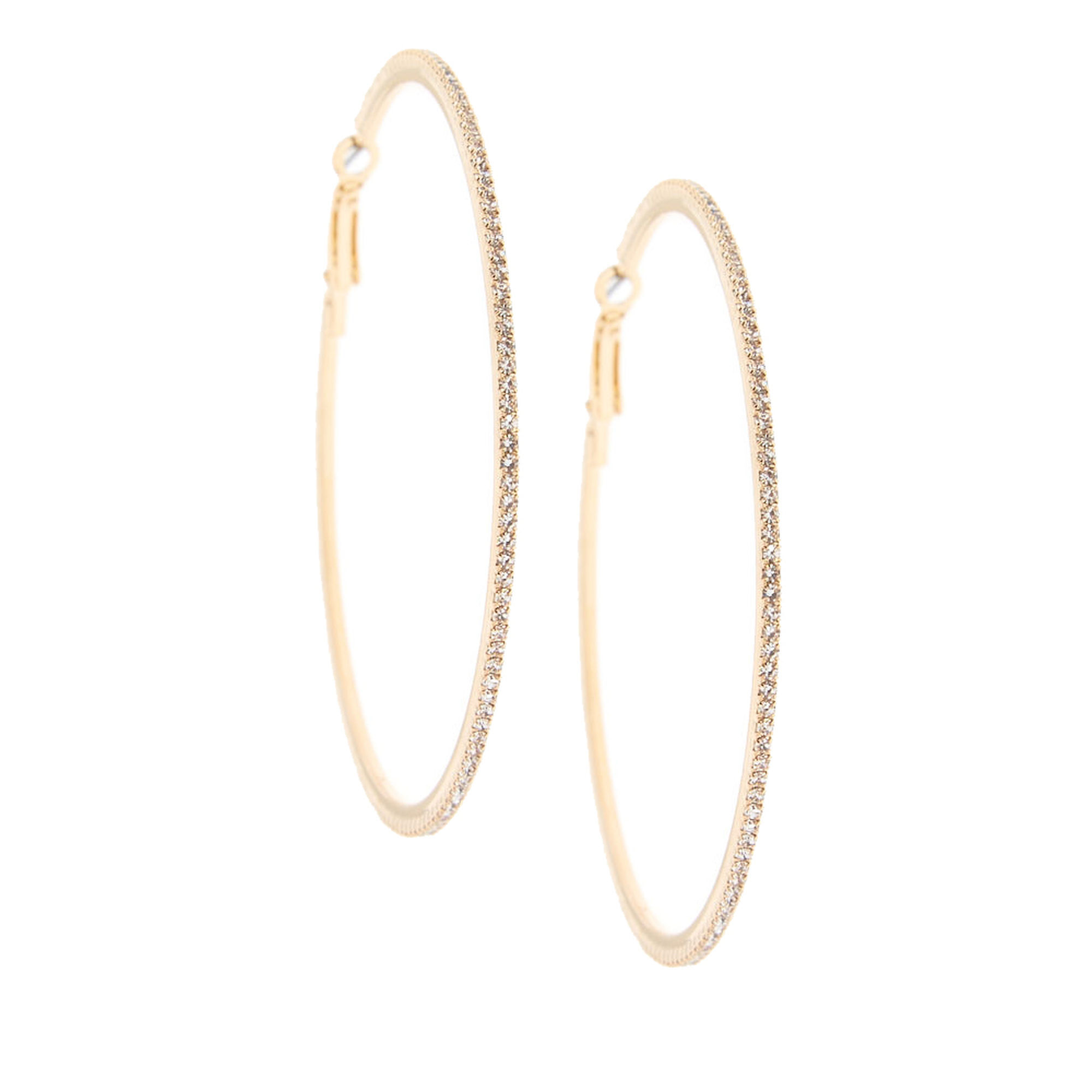 811eaf86a8dd2 70MM Gold-Tone Stone Hoop Earrings