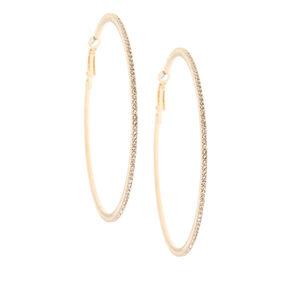 70MM Gold-Tone Stone Hoop Earrings,
