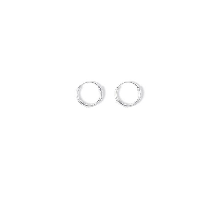 10MM Silver Hoop Earrings,