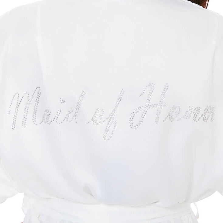 White Satin & Crystal Maid of Honor Robe - M/L,