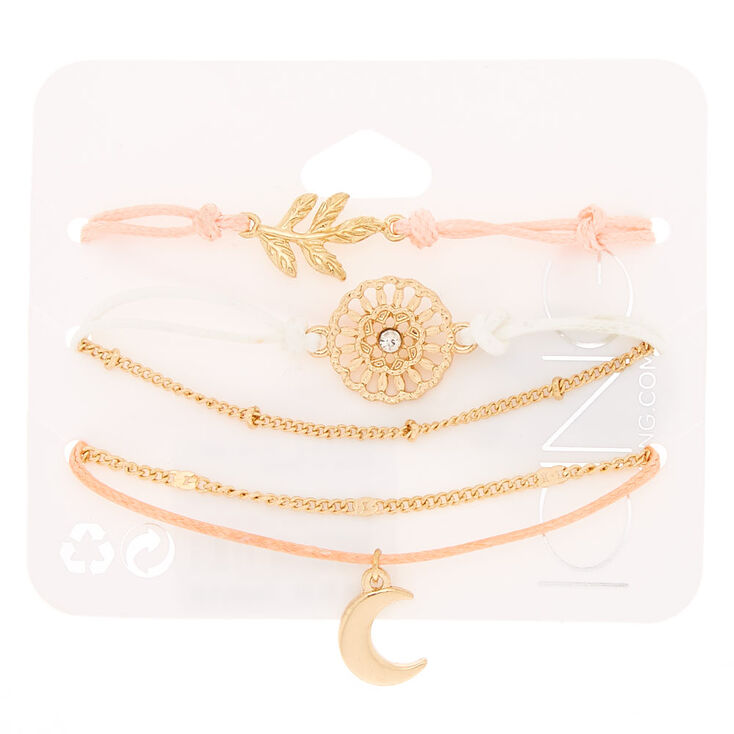 Gold Tone & Pastel Yarn Boho Flair Bracelets,