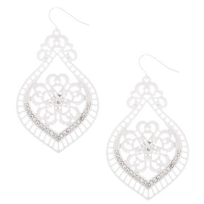 "2"" Crochet Chandelier Drop Earrings - White,"